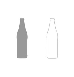 Beer bottle grey set icon vector