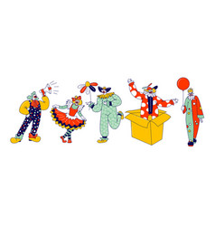big top circus clown characters male and female vector image