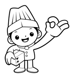 black and white cartoon chef mascot box and ok vector image