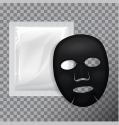 black facial mask cosmetics pack package vector image