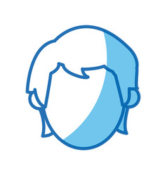 blue outline head no face man character vector image
