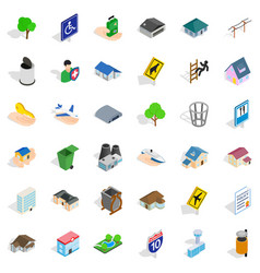 Building of the municipality icons set isometric vector