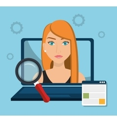 Business people and digital marketing vector