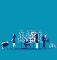 Business people and money tree concept business vector