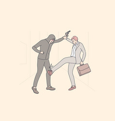 Business robbery crime fight concept vector