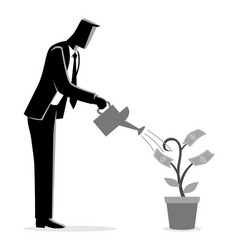 businessman watering young plant with dollar vector image