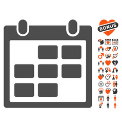 Calendar month icon with dating bonus vector