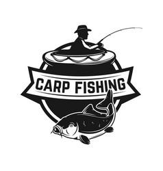 carp fishing emblem template with fish vector image