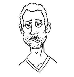 Cartoon image of man biting lip vector