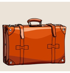 Cartoon suitcase from brown leather with rivets vector