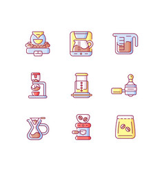 Coffee shop appliance rgb color icons set vector