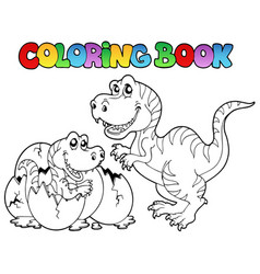 coloring book with tyrannosaurus vector image