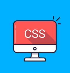 Computer with css word on screen cascading style vector