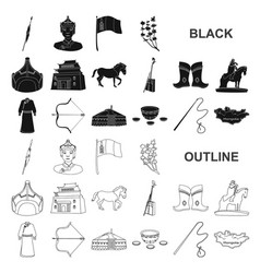 Country mongolia black icons in set collection for vector