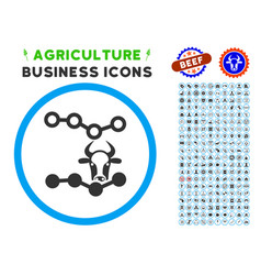 Cow trends rounded icon with set vector