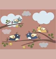 Cute birds tweeting on a tree vector