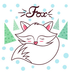 cute sleep fox idea for print t-shirt vector image
