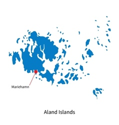 Detailed map of Aland Islands and capital city vector image