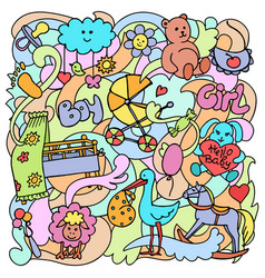 doodle baby colorful objects vector image