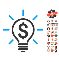 Electric light price icon with love bonus vector