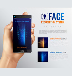 Face id recognition background vector