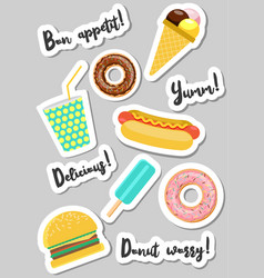 Fast food vecor stickers vector