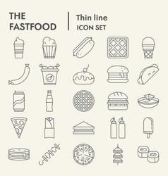 fastfood thin line icon set snack symbols vector image