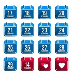 February flat calendar icons with long shadow vector image