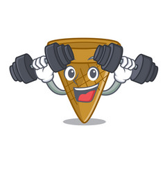 fitness wafer cone character cartoon vector image
