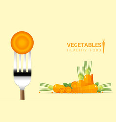 fresh carrot on fork with pile of carrots vector image