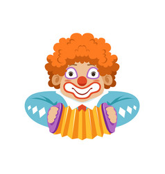 Funny circus clown in traditional makeup with vector