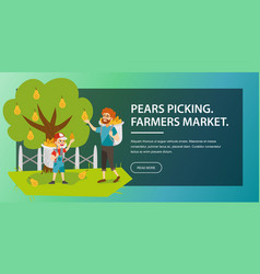 Gathering harvest flat poster vector