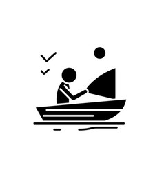 good fishing black icon sign on isolated vector image