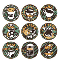 good morning coffee lovers vintage retro labels vector image