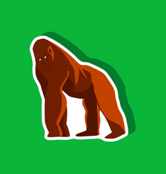 Gorilla paper sticker on stylish background vector