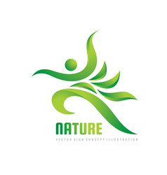 Green nature logo template health sign vector
