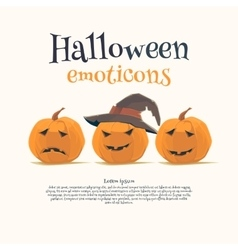 Halloween emoticon face icons set vector image