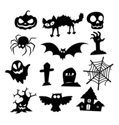halloween icons silhouette collection vector image