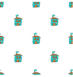 Hand drawn houses in doodle styleseamless pattern vector