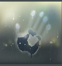 hand on misted glass realistic composition vector image