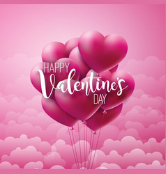 Happy valentines day design with red balloon heart vector