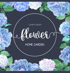 Hydrenyia flowers watercolor frame beautiful vector
