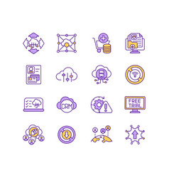 iot services rgb color icons set vector image