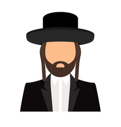 Jewish orthodox rabbi avatar icon vector
