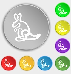 Kangaroo Icon sign Symbol on eight flat buttons vector