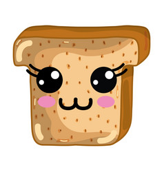 Kawaii cute happy chopped bread vector