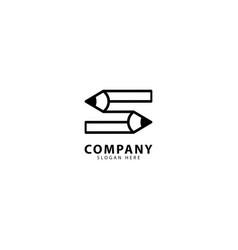 Letter s pencil logo design vector