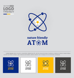 logo with symbol of nature friendly atom vector image