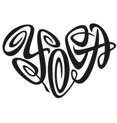 love yoga word lettering in the shape of heart vector image