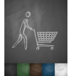 Man with trolley icon vector
